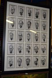 Sale 8410T - Lot 2086 - Larry Pickering - Australian Prime Ministers, framed decorative prints (1), frame size: 93.5 x 68cm
