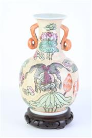 Sale 8796 - Lot 92 - Chinese Twin Handle Vase on Stand (Marked to Base H 26cm)