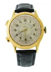 Sale 9080J - Lot 121 - An early Swiss made two button chronograph watch, circa 1950s, in gold plated case, tachymeter dial, 37.6 mm, hand winding, restore...