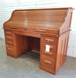 Sale 9097 - Lot 1025 - Early 20th Century Oak Roll-Top Desk, with fitted interior, two slides and eight graduated drawers Ex Australian Museum (h: 124 w: 1...