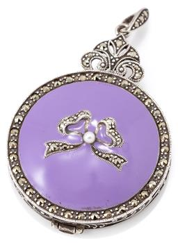 Sale 9149 - Lot 581 - AN ENAMELLED SILVER STONE SET COMPACT; lavender enamel top set with marcasites and a seed pearl, revealing compact with mirror, size...