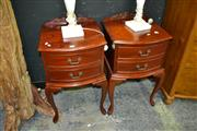 Sale 8124 - Lot 1010 - Pair Of Two Drawer Bedsides On Cabrioles