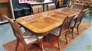 Sale 8328 - Lot 1019 - Inlaid Timber Dining Suite incl. Extension Twin Pedestal Table with Tripod Base & Set of Six Chairs incl. Two Carvers
