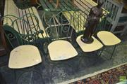 Sale 8331 - Lot 1571 - Set of Four Metal Framed Chairs with Timber Seat