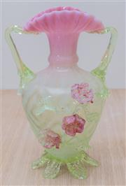 Sale 8430 - Lot 71 - A Victorian green and pink vaseline art glass vase with applied flowers (chips to feet). Height 27cm.