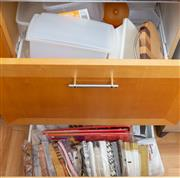 Sale 8562A - Lot 239 - Two drawers and four shelf lots of useful kitchen wares including tupperware, paper serviettes, paper plates, chopping boards etc