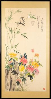 Sale 8586 - Lot 141 - Framed Chinese Painting of Bird and Flower Scene
