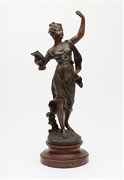 Sale 8660A - Lot 32 - An antique French bronzed spelter figure of Galathee, after Bruchon, C: 1910. Signed Bruchon with Paris foundry stamp. Condition: Go...