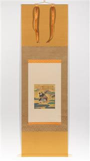 Sale 8770 - Lot 47 - A fine quality Japanese signed scroll painting with ivory ends, L x 150cm