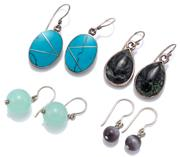 Sale 9083 - Lot 598 - FOUR PAIRS OF SILVER STONE SET EARRINGS; set with oval turquoise, pear shape diorite, hawkss eye beads and chrysoprase beads, all o...