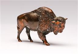 Sale 9098 - Lot 121 - American Bronzed Figural Paperweight of a Bison L:8.5cm
