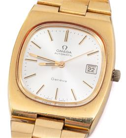 Sale 9132 - Lot 473 - AN OMEGA AUTOMATIC WRISTWATCH; ref: 166.0191 in gold plated stainless steel with cushion shape case, sunburst dial, center seconds,...