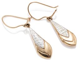 Sale 9145 - Lot 305 - A PAIR OF 9CT GOLD EARRINGS; hollow drop shape pendants with white gold highlights to locking shepherds hook fittings, length 40mm,...