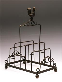 Sale 9144 - Lot 251 - Cast iron rooster themed plate stand (H:35cm)