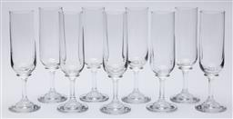 Sale 9099 - Lot 195 - A set of nine glass champagne flutes, Height 19cm