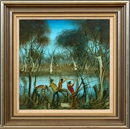 Sale 9150J - Lot 12 - KEVIN CHARLES (PRO) HART (1928 - 2006) Figures by Lake oil on board 29 x 29 cm signed lower left