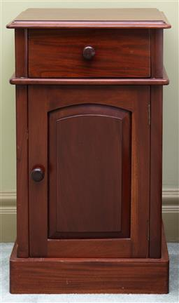 Sale 9190H - Lot 338 - A pair of vintage mahogany single drawer and left and right hand opening cupboard door bedside cabinets on platform bases. Ht: 70cm ...