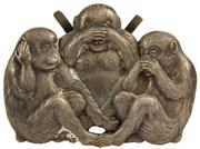 Sale 8004 - Lot 73 - Chinese Silver Three Wise Monkeys Plaque