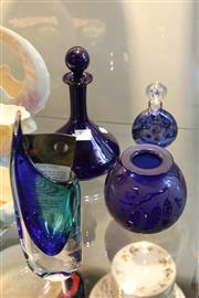 Sale 8086 - Lot 85 - Thomas Webb & Sons Decanter with Other Blue Glass Ware incl Tony Harring Vase