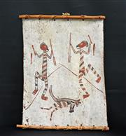 Sale 8168 - Lot 532 - Naranolgi (XX) - Initiation Dance For Killing Of First Kangaroo, c.1977 63 x 46cm