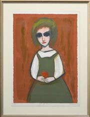 Sale 8174A - Lot 527 - Robert Dickerson (1924 - 2015) - Girl With Flowers 75.5 x 56cm