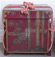 Sale 8800 - Lot 154 - A pair of Japanese red lacquered two door bedside tables, with brass inlay bamboo and peony motif, and brass hardware, with H 61 x W...