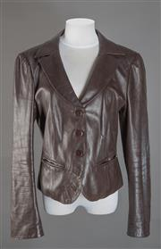 Sale 8493A - Lot 20 - An Armani Collection brown leather single breasted jacket, size 46