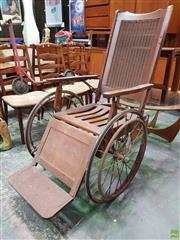 Sale 8566 - Lot 1113 - Vintage Timber Framed Wheel Chair