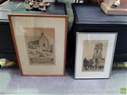 Sale 8613 - Lot 2054 - Gerrard Gayfield Shaw (1885 - 1961) (2) St. Johns Stroud; St. Johns  etchings (AF) 30x 20cm; 27 x 18cm; signed lower right (each) -