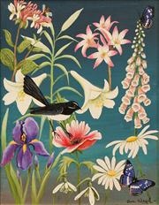 Sale 8642A - Lot 5134 - Sue Nagel (1942 - ) - Flowers and Willy Wag Tail 49 x 39cm