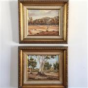 Sale 8878T - Lot 51 - Jabel, Australian Bush Scenes Pair of Paintings Dimensions of Frame - 38.5cm x 33cm