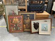 Sale 8990 - Lot 2081 - Group of Assorted Original Artworks and Prints incl: Vintage Prints, Chromolithograph Still Life; Tapestry, hand-painted ceramics, a...