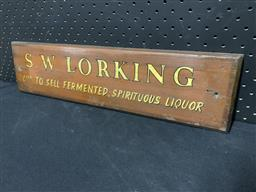 Sale 9117 - Lot 1007 - Early S.W Lorking licence sign (h:12 x w:48cm)