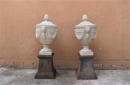 Sale 9135H - Lot 191 - A pair of cast stone lidded urns with fine detail.  75cm Height, 50cm Width