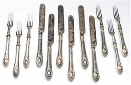 Sale 9164 - Lot 292 - A silver plated fruit set for six