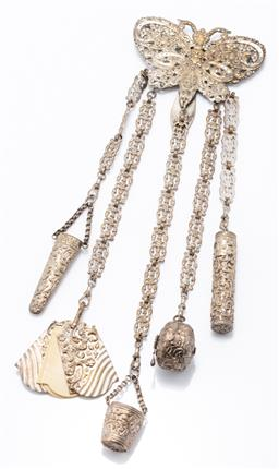 Sale 9180E - Lot 155 - A large four charm metal chatelaine with moth/butterfly form top, approx lengnth 32cm