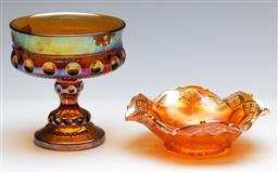 Sale 9168 - Lot 41 - A carnival glass goblet (H: 13cm) and dish (dia 15cm)