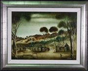 Sale 7923 - Lot 534 - Kevin Charles Pro Hart - Landscape with Huts 45 x 60cm