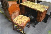Sale 8277 - Lot 1098 - Oak & Iron Singer Occasional Table & Matching Chair