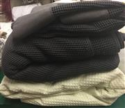 Sale 8310A - Lot 397 - One large and one small grey waffle blanket, with a large lemon example