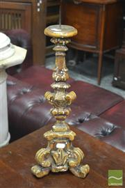 Sale 8317 - Lot 1021 - C18th Style Gilt Gesso Pricket Stick of triangular section with applied scrolls