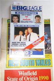 Sale 8404S - Lot 54 - 1990 Big League State of Origin Programmes. First Game 9th May, Sydney; plus Second Game 30th May, Melbourne; plus Daily Mirror Wall...
