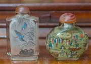 Sale 8435A - Lot 51 - Two reverse painted glass snuff bottles, taller H 9cm