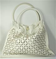 Sale 8460F - Lot 71 - A La Perla white leather beach bag with pierced design and leather ring handles/straps, W 50cm