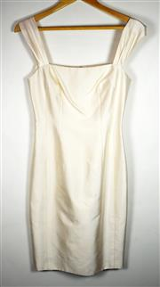 Sale 8460F - Lot 27 - A vintage cream silk fitted square neck cocktail dress, size S