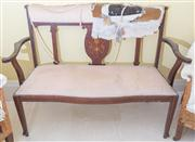 Sale 8470H - Lot 380 - An Edwardian two seater timber sofa, upholstery needs attention