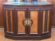 Sale 8515A - Lot 94 - A marble topped burr panelled Chinese bifold door drinks cabinet, H 78 x W 102 x D 42cm