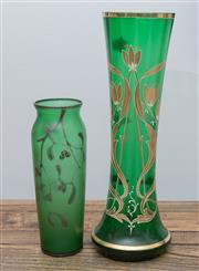 Sale 8530A - Lot 215 - A non matching pair of green glass vases with gilt highlights, larger H 31cm