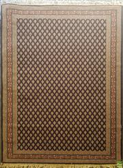 Sale 8611 - Lot 1044 - Boteh Style Blue Tone Floor Rug with Repeating Cream Shield Patterns and a Red Border (230 x 160cm)
