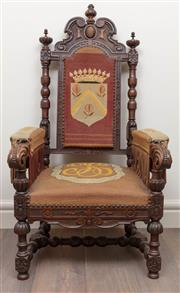 Sale 8868H - Lot 89 - A French Henri II walnut tapestry upholstered sate chair with shield crown pomegranate design and monogram to seat, Height 138cm, wi...